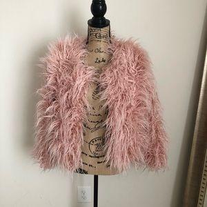 Jackets & Blazers - Light Pink Shaggy Faux Fur Jacket